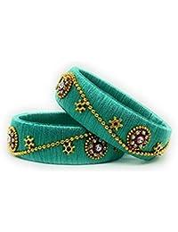 Beulah Fancy Silk Thread Bangle Set For Women (Size: 2.8, Beulah Fancy Silk Thread 1--2.8) - B0784XJD4M