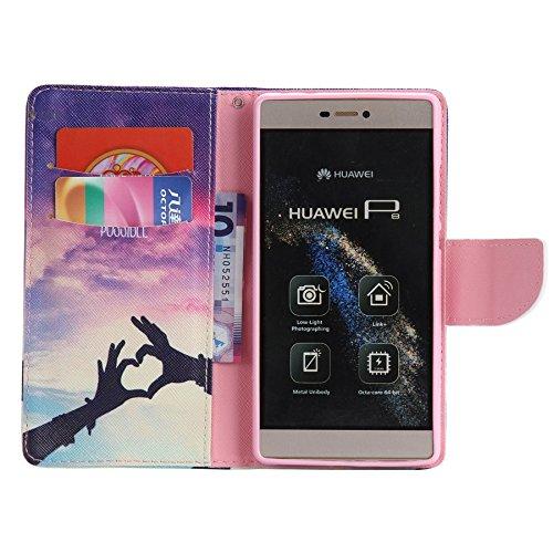 Ooboom® Huawei P8 Lite Coque PU Cuir Flip Housse Étui Cover Case Wallet Portefeuille Fonction Support avec Porte-cartes pour Huawei P8 Lite - Don't Touch My iPhone Main Ombre Amour