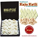Bogatchi Kaju Barfi White Chocolate, Goodness Milk and Roasted Cashews - Kaju Katli, 24Pcs