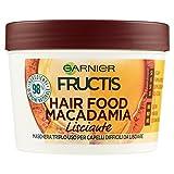 Garnier Fructis Hair Food Macadamia Maschera Disciplinante 3 in 1 con Formula Vegana per Capelli Difficili da Lisciare, 390 ml