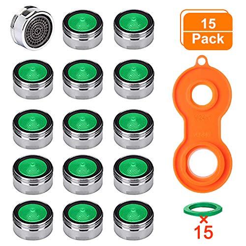 Perlatoren für Wasserhähne, AOBETAK 15 Stück M24 Perlator Strahlregler Wasserhahne Sieb Einsatz mit ABS Filter inkl + 1 Universaler Perlator Schlüsse,Außengewinde Perlator Wassersparend Set