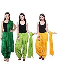 Fashion Store Women Cotton Patiala Salwar With Dupatta Combo Of 3 (Free Size Dark Green & Green- Yellow )