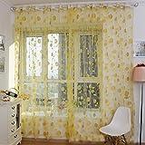 Tongshi Ventas calientes! Impresión caliente cortina floral Pantallas dormitorio principal cortina 200x100cm (amarillo)