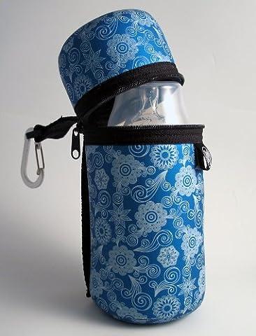 Butler Support pour bouteille Bleu Fleur–thermique, lavable en machine et facile à transporter
