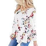 VEMOW Heißer Verkauf Frauen Damen Sommer Herbst Im Freien Casual Blumendrucken Langer Aufflackernhülse Tops T-Shirt Bluse (EU-48/CN-2XL, Weiß)