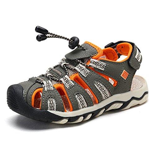Orange Jungen Sandalen (DREAM PAIRS 160912-K Jungen Outdoor Sommer Sandalen Olivbeige Orange 32 EU)