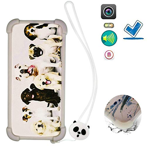 HYJKB Hulle fur Archos Core 55p hülle Silikon Grenze + PC hart backplane Schutzhülle Case Cover Dog