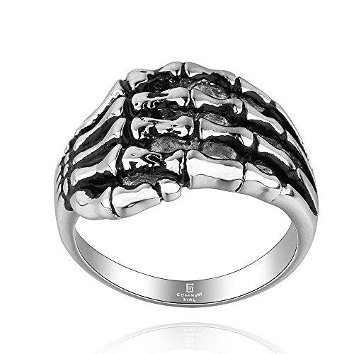 iLove EU Edelstahl Ring Bandring Silber Schwarz Totenkopf Schädel Skelett Hand Knochen Gotik Herren - Größe 57 -