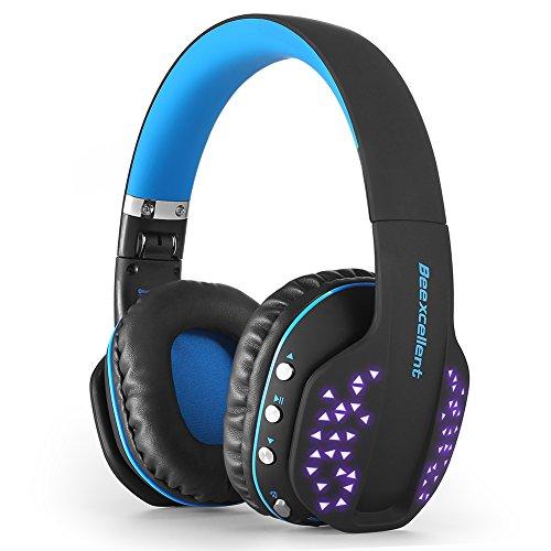 Chengstore Gaming Headset, Beexcellent Wireless Bluetooth Q2 Headset faltbar Noise Cancelling Over-Ear Headset mit Mikrofon Cool LED Licht für PS4 PSP-Laptop Computer iPads blau blau Ipod Wireless Headset