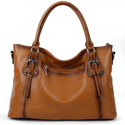Imagen de yaluxe mujer estilo clasico cuero genuino suave  pequeña saco de mano grande bolsa de hombro marrón alternativa
