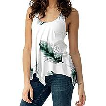 Fossen - Mujer Camiseta de Tirantes Verano 2019 - Originales Casual  Dobladillo Irregular Blusas Camisas Sin 57413c406bc8