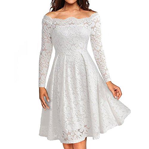 (QingJiu Frauen Vintage Aus Schulter Spitze Formale Abendkleid Damen Langarmkleider)