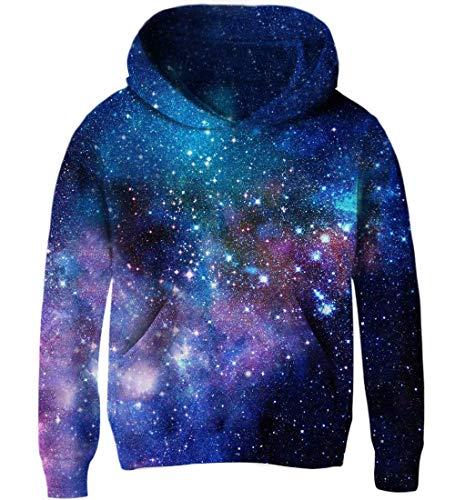 Goodstoworld Blau Galaxy Kapuzensweatshirt Kinder Jungen Mädchen Pullover Cooler 3D Druck Lange Ärmel Hoodie Sweatshirt
