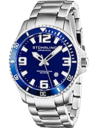 Stuhrling Original Regatta Champion Men's Quartz Watch with Blue Dial Analogue Display and Silver Stainless Steel Bracelet 395.33U16