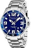 Stuhrling Original 395.33U16 - Montre Quartz - Affichage Analogique - Bracelet Acier inoxydable Argent et Cadran Bleu - Hommes