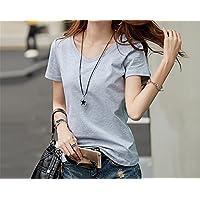 TAIDUJUEDINGYIQIE Camiseta de Manga Corta para Mujer V Collar Color Sólido Verano Nuevo, Gris, 4XL