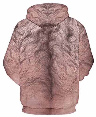 Pretty321 Men Women Funny Trap Digital Print Hoodie Sweatshirt w/ Pocket Collection Hairy Print Body