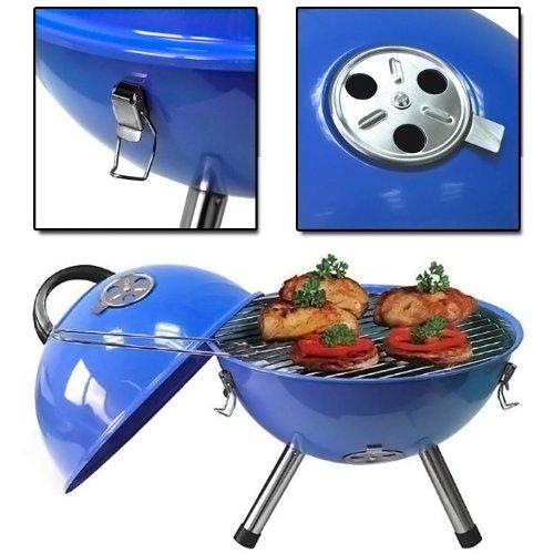 Barbecue a carbonella con griglia rotonda, mini barbecue compatto da tavolo, portatile, ideale per grigliate in giardino, in terrazza, in campeggio o per un picnic