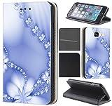 CoverFix Premium Hülle für Samsung Galaxy A5 (Modell 2017) A520 Flip Cover Schutzhülle Kunstleder Flip Case Motiv (1029 Abstract Blume Hell Blau)