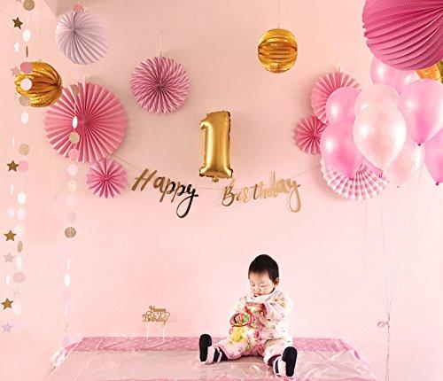 Easy Joy 1. Geburtstag Dekor Rosa Happy Birthday Girlande Gold Luftballons Faltrosetten Lampions Stern Banner Kuchen-Topper