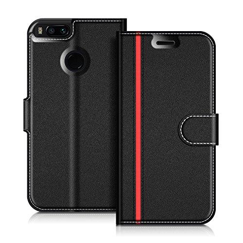 COODIO Funda Xiaomi Mi A1, Funda Cuero Xiaomi Mi A1, Funda Cartera Xiaomi Mi A1 Case con Magnético/Billetera/Soporte para Xiaomi Mi A1, Negro/Rojo