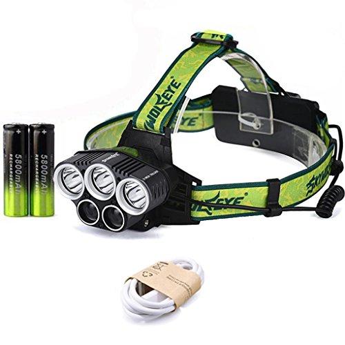 FAMILIZO 25000LM 5x XM-L T6 Headlamp Headlight Luz Principal LED Recargable USB + Batería Linternas Frontales para camping / pesca / ciclismo / carrera / caza