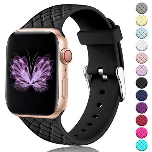 HUMENN Sportbänder Kompatibel mit Apple Watch Armband 38mm 42mm 40mm 44mm, Damen Soft Silicone Weave Pattern Band Ersatzbänder für Apple Watch Series 5/4/3/2/1, 38mm/40mm-S/M Schwarz