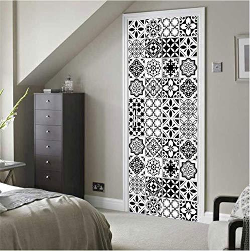 leidoskop mediterranen Stil Farbe weiß und schwarz Fliesen Mosaik Schlafzimmer Holztür Dekoration Poster 77 cm * 200 cm ()