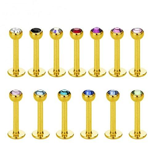 Gold Steel - Labret - Kristall (Piercing Stab für u.a. Lippen-, Nasen-, Conchpiercings)