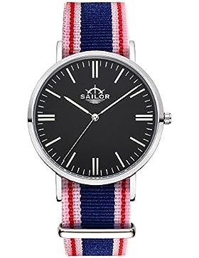 Sailor Armbanduhr Classic Gambi silver mit Nylonarmband, Farbe Ziffernblatt:schwarz, Durchmesser:40mm