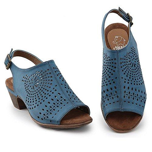 Alexis Leroy Look Unique et distinctif Chaussures Sandales à Talon Moyen Femme Bleu