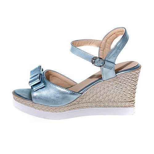 VogueZone009 Donna Pelle Di Maiale Punta Aperta Tacco Alto Luccichio Sandali Azzurro