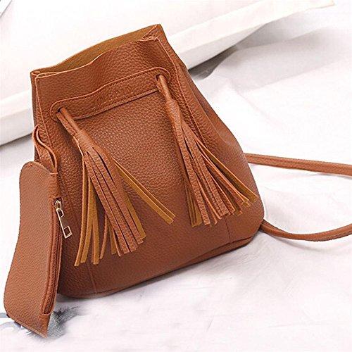 Longra Donna Sacchetto doppio del sacchetto del sacchetto di spalla Jiangsu di modo Marrone