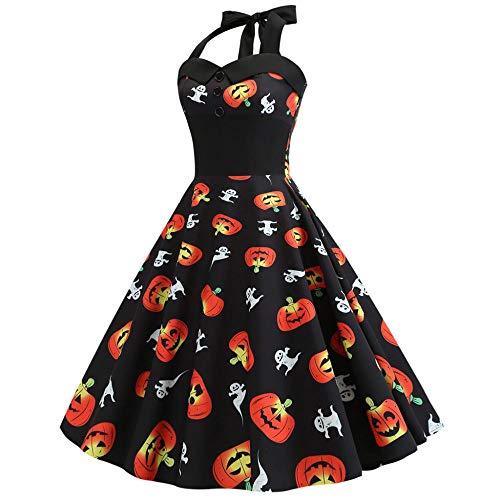 Patient Fancy Dress - ZLHZYP Halloween kostüm DressfloralRetroVintageDressFrauen schwingen HalloweenElegante