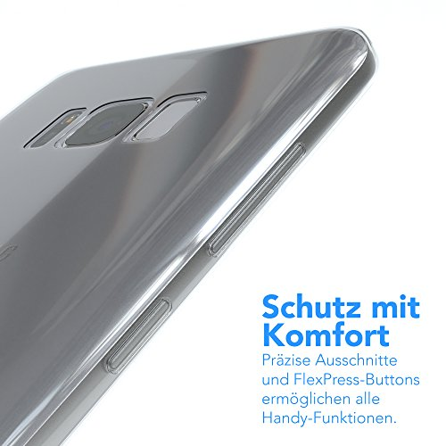 """EAZY CASE Handyhülle für Samsung Galaxy S8 Plus Hülle - Premium Handy Schutzhülle Slimcover """"Brushed"""" Aluminium Design - TPU Silikon Backcover in brushed Lila Transparent - Clear"""