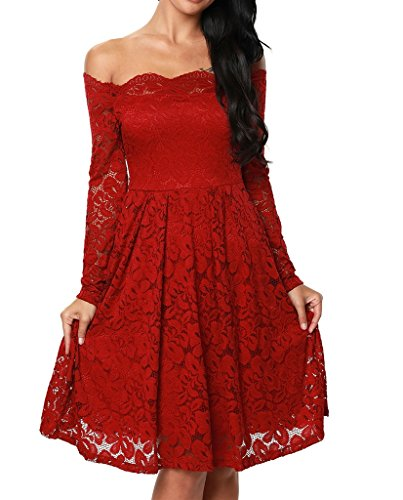 Damen Elegant Spitzenkleid Langarm Schulterfreies kleid Skaterkleid Cocktailkleid Abendkleid Rot