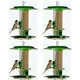 Amijivdaya Bird Feeder with Hut (Medium, Green, 4-Pieces)