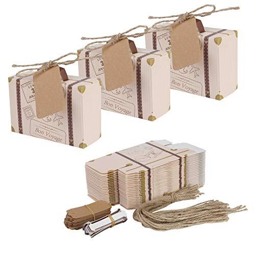 r Box 50 Stück Mini Bevorzugungs Süßigkeit Kasten mit Tags und Jute Bindfäden für Geburtstag Party Baby Dusche Hochzeit Décor ()