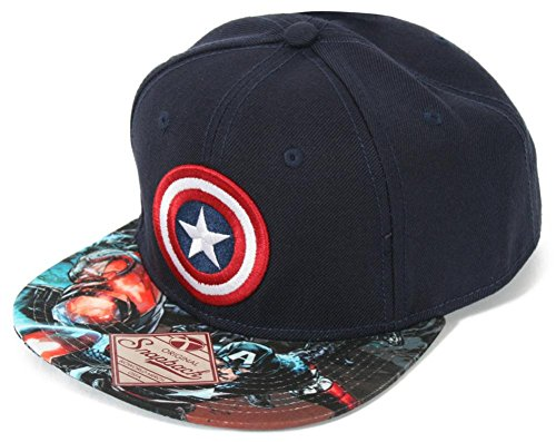 BIOWORLD Marvel Captain America Logo Sublimated Bill Navy Snapback Cap Hat by bioWorld (Bill-logo-cap)