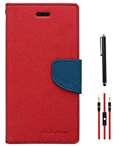 DMG Mercury Goospery Wallet Case for Samsung Galaxy Note 3 Neo N750 (Red-Pebble Blue) + AUX Cable + Stylus
