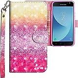 CLM-Tech kompatibel mit Samsung Galaxy J3 2017 Hülle, Tasche aus Kunstleder, bunt Mehrfarbig gelb lila, PU Leder-Tasche für Galaxy J3 2017 Lederhülle