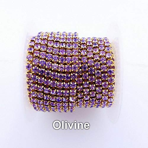 PENVEAT High Density 5 Yards/Roll Gold Base Claw ss6 2mm SS8 2.5mm SS10 2.8mm SS12 3mm Rhinestone Cup Chain Sew On Glue on DIY Trim,A21 Violet,SS8 5yards -