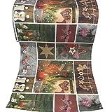 JEMIDI Tischläufer Weihnachten 40cm x 160cm Tischdecke Mitteldecke Weihnachten Advent Tischläufer Decke Weihnachtlich Tischband Läufer Patchwork 2