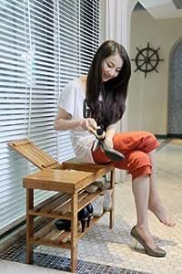 SoBuy 100% Bamboo Shoe Rack, Bench, Stool, Display Racks, Seat with Storage Draw On Top, Size: 70cm×28.5cm×45cm, FSR05-N