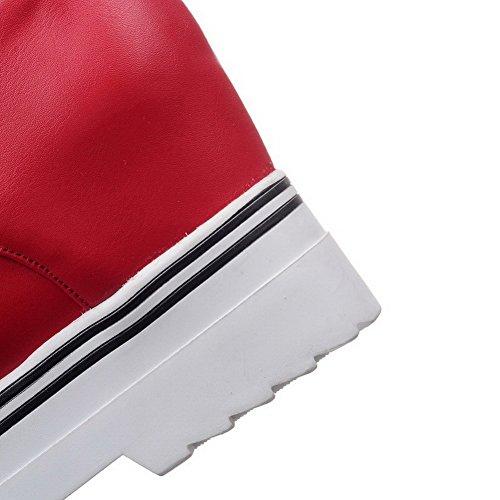 Leggere Rosso Rotonda Flessibile Solido Materiale Colore Di Donna Di Pizzo Voguezone009 Scarpe ZawxCTqZ