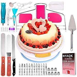 Basuwell Tortendekoration-Set,124 PCS Kuchen Ausstecher Dekoration Set Tortenzubehör-Set mit drehbarer Tortenplatte/Tortenständer für Zuckerguss und Deko,Werkzeug für Anfänger und Profis