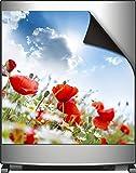 Wallario Magnet für Kühlschrank / Geschirrspüler, magnetisch haftende Folie - 60 x 60 cm, Motiv: Mohnblumen unter blauem Himmel