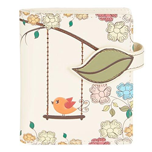 Shagwear portafoglio per giovani donne Small Purse : Diversi colori e design: uccellino su altalena beige/ Swing Birds