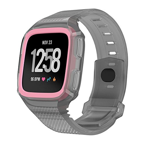 squarex Rugged Schutzhülle mit Silikon Handschlaufe Bands für Fitbit Versa Armbanduhr, damen, Gray+Pink, AS - Kratzer-entferner Für Iphone