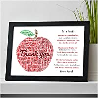 Thank You Teacher Gifts APPLE Personalised Poem Best Teacher Leaving Present - Thank You Gifts for Teachers, Teaching Assistants, TA, Nursery Teachers - ANY RECIPIENT from ANY NAME - A5, A4, A3 Prints and Frames - FREE Personalisation